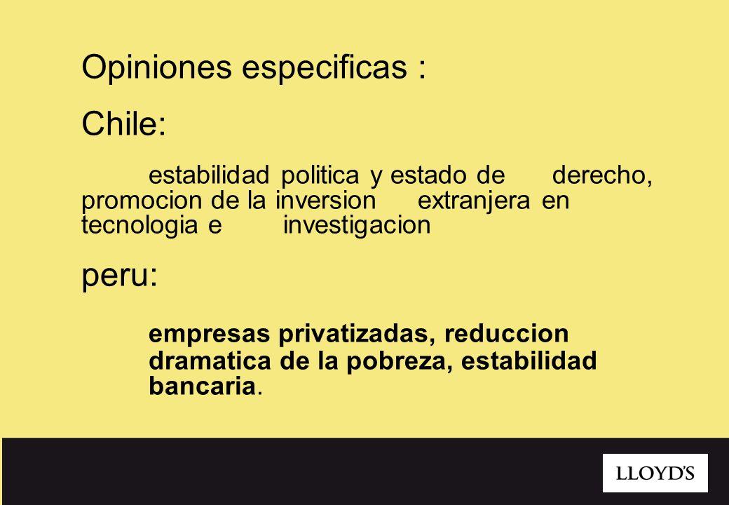 9 Opiniones especificas : Chile: estabilidad politica y estado de derecho, promocion de la inversion extranjera en tecnologia e investigacion peru: em