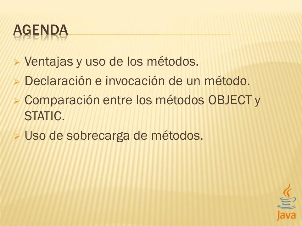 Ventajas y uso de los métodos. Declaración e invocación de un método. Comparación entre los métodos OBJECT y STATIC. Uso de sobrecarga de métodos.