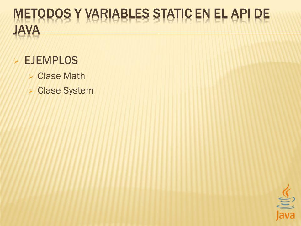 EJEMPLOS Clase Math Clase System