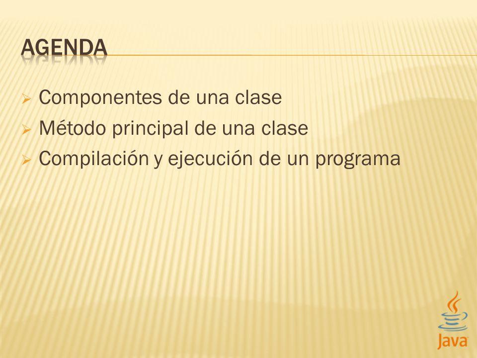 Componentes de una clase Método principal de una clase Compilación y ejecución de un programa