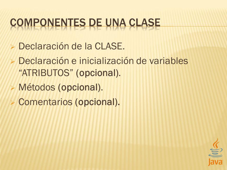Declaración de la CLASE. Declaración e inicialización de variables ATRIBUTOS (opcional). Métodos (opcional). Comentarios (opcional).