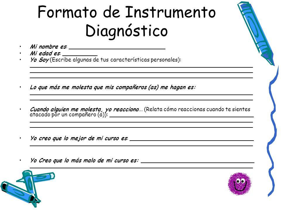 Formato de Instrumento Diagnóstico Mi nombre es: ____________________________ Mi edad es: __________ Yo Soy (Escribe algunas de tus características pe