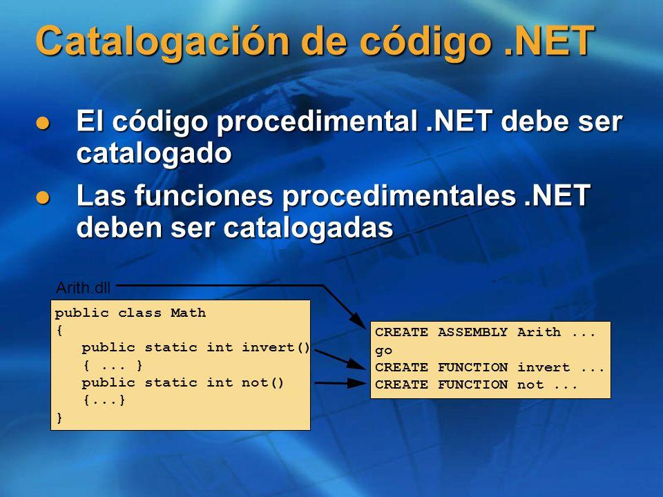 Catalogación de código.NET El código procedimental.NET debe ser catalogado El código procedimental.NET debe ser catalogado Las funciones procedimental