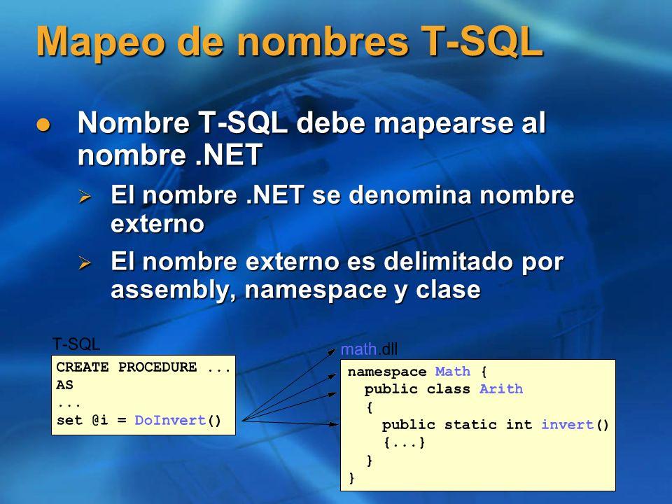 Mapeo de nombres T-SQL Nombre T-SQL debe mapearse al nombre.NET Nombre T-SQL debe mapearse al nombre.NET El nombre.NET se denomina nombre externo El n