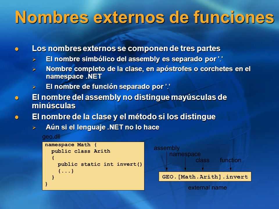 Nombres externos de funciones Los nombres externos se componen de tres partes Los nombres externos se componen de tres partes El nombre simbólico del