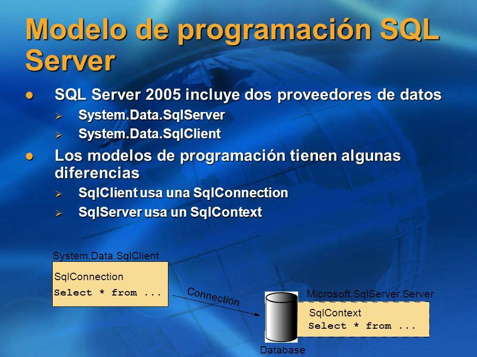 Modelo de programación SQL Server SQL Server 2005 incluye dos proveedores de datos SQL Server 2005 incluye dos proveedores de datos System.Data.SqlSer