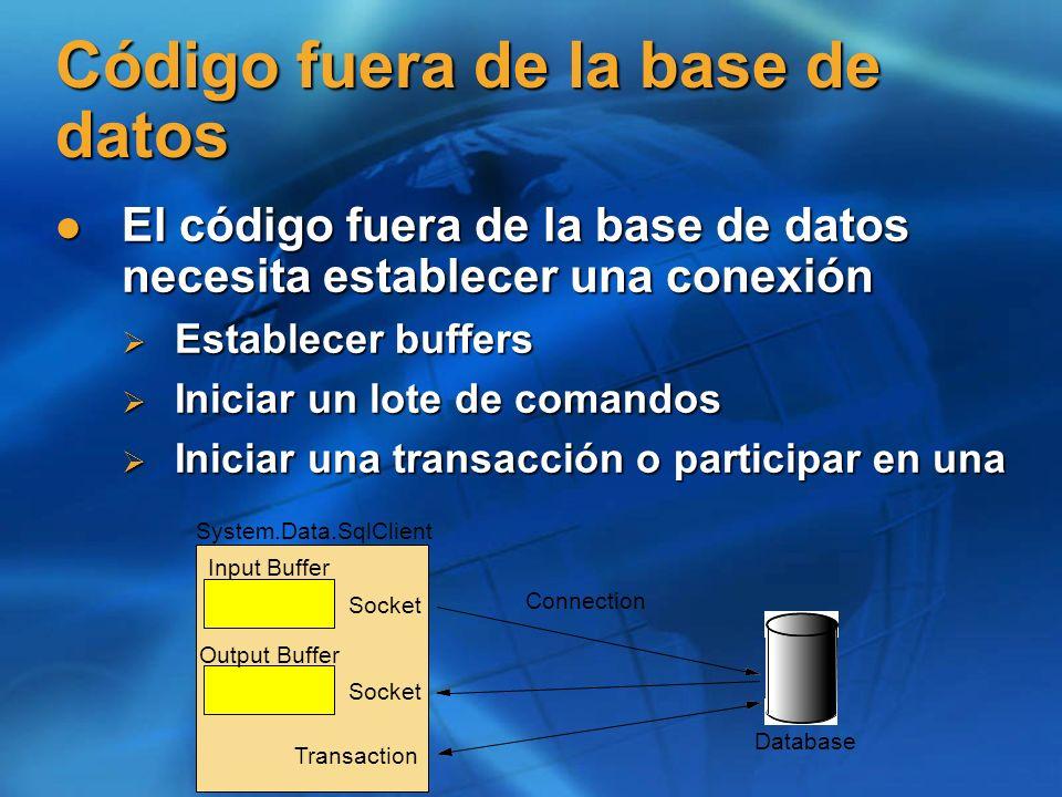 Código fuera de la base de datos El código fuera de la base de datos necesita establecer una conexión El código fuera de la base de datos necesita est
