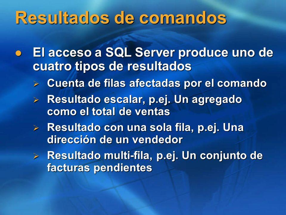 Resultados de comandos El acceso a SQL Server produce uno de cuatro tipos de resultados El acceso a SQL Server produce uno de cuatro tipos de resultad