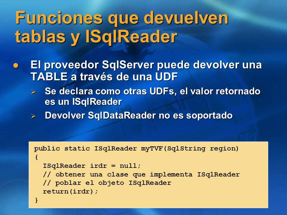 Funciones que devuelven tablas y ISqlReader El proveedor SqlServer puede devolver una TABLE a través de una UDF El proveedor SqlServer puede devolver