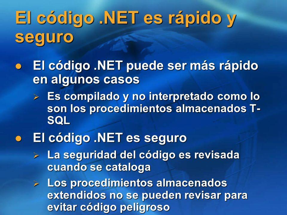 El código.NET es rápido y seguro El código.NET puede ser más rápido en algunos casos El código.NET puede ser más rápido en algunos casos Es compilado