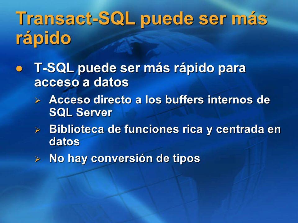 Transact-SQL puede ser más rápido T-SQL puede ser más rápido para acceso a datos T-SQL puede ser más rápido para acceso a datos Acceso directo a los b