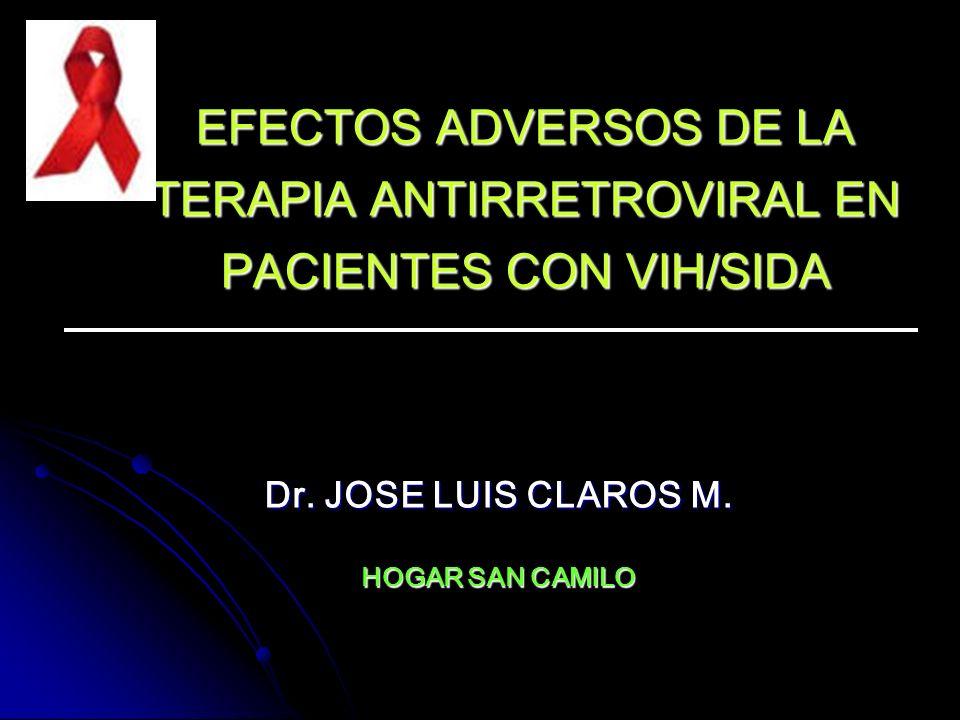 EFECTOS ADVERSOS DE LA TERAPIA ANTIRRETROVIRAL EN PACIENTES CON VIH/SIDA Dr. JOSE LUIS CLAROS M. HOGAR SAN CAMILO