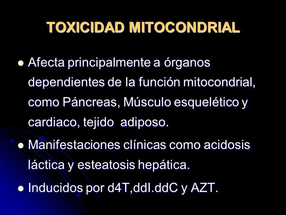 TOXICIDAD MITOCONDRIAL Afecta principalmente a órganos dependientes de la función mitocondrial, como Páncreas, Músculo esquelético y cardiaco, tejido