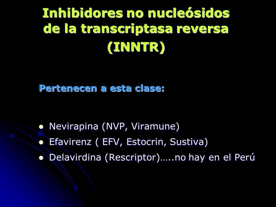 Inhibidores no nucleósidos de la transcriptasa reversa (INNTR) Pertenecen a esta clase: Nevirapina (NVP, Viramune) Nevirapina (NVP, Viramune) Efaviren