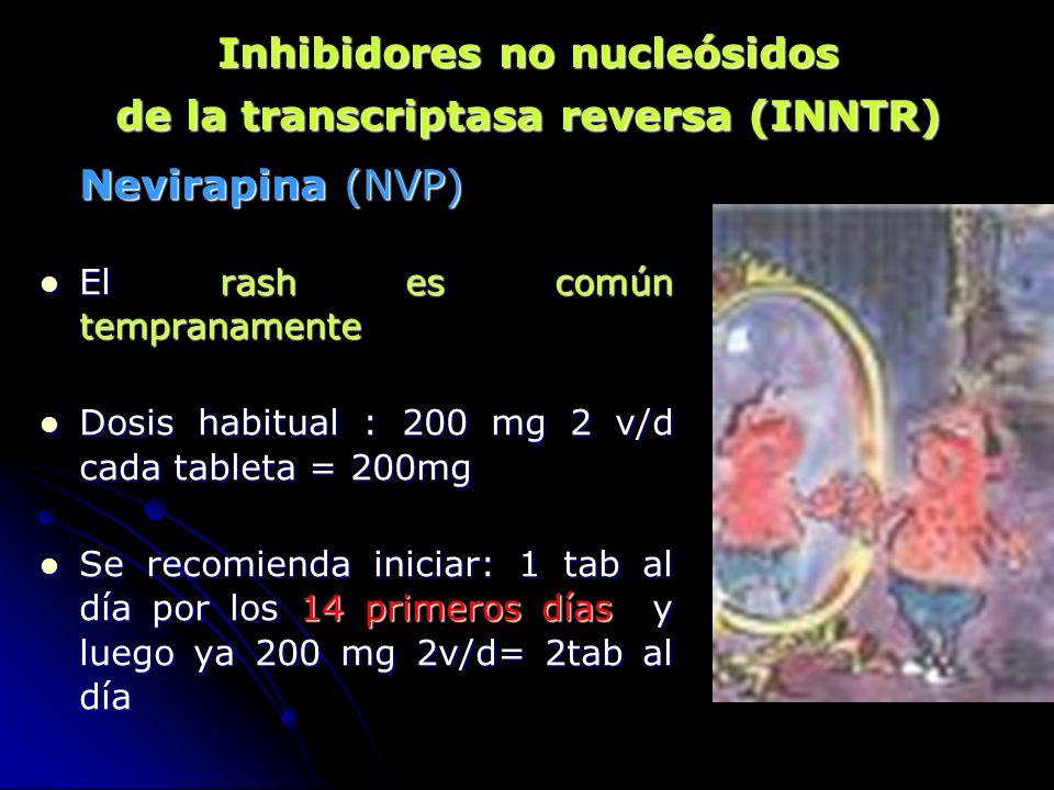 Nevirapina (NVP) El rash es común tempranamente El rash es común tempranamente Dosis habitual : 200 mg 2 v/d cada tableta = 200mg Dosis habitual : 200