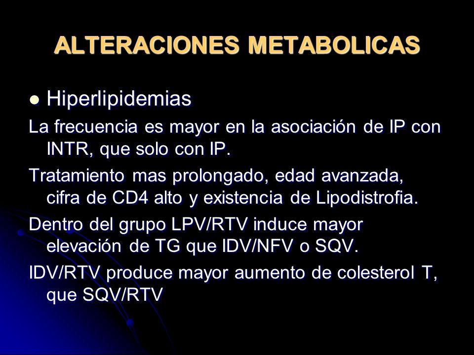 ALTERACIONES METABOLICAS Hiperlipidemias Hiperlipidemias La frecuencia es mayor en la asociación de IP con INTR, que solo con IP. Tratamiento mas prol