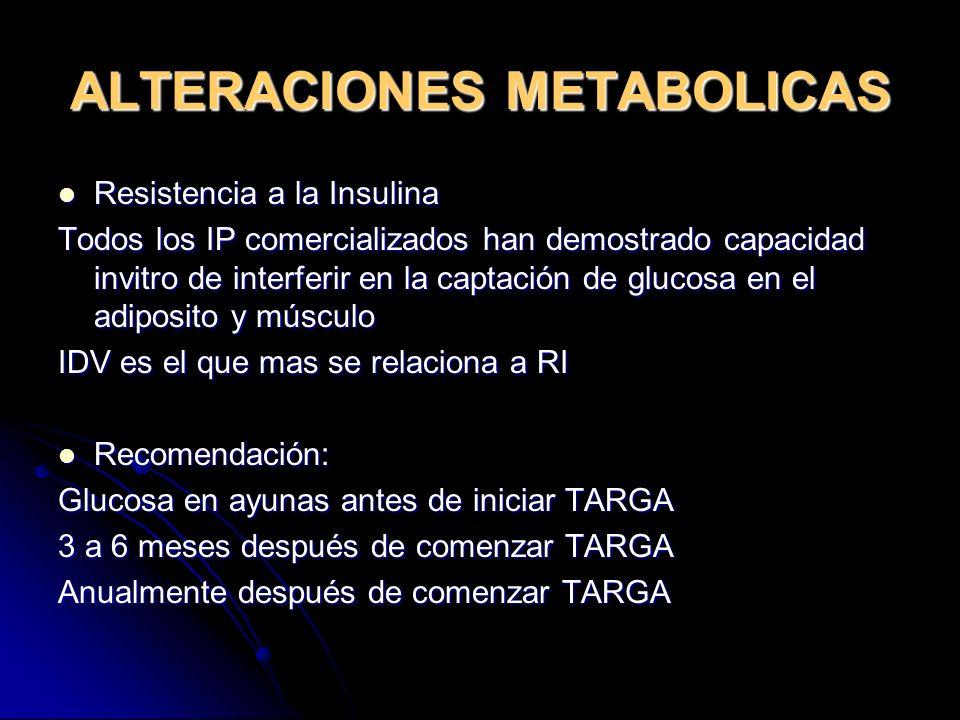 ALTERACIONES METABOLICAS Resistencia a la Insulina Resistencia a la Insulina Todos los IP comercializados han demostrado capacidad invitro de interfer