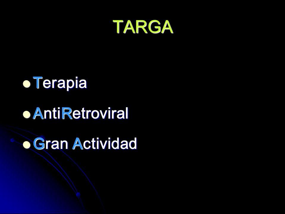 TARGA Es el régimen utilizado en los pacientes con SIDA, con el que se espera se logre reducir la carga viral a niveles indetectables por el mayor tiempo posible.