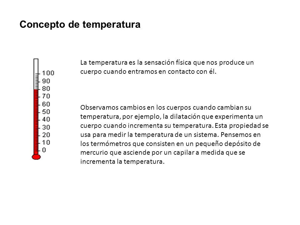 Concepto de temperatura La temperatura es la sensación física que nos produce un cuerpo cuando entramos en contacto con él. Observamos cambios en los