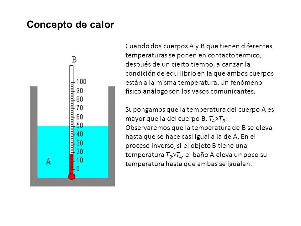 Concepto de calor Cuando dos cuerpos A y B que tienen diferentes temperaturas se ponen en contacto térmico, después de un cierto tiempo, alcanzan la c