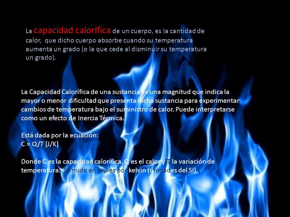 La capacidad calorífica de un cuerpo, es la cantidad de calor, que dicho cuerpo absorbe cuando su temperatura aumenta un grado (o la que cede al dismi