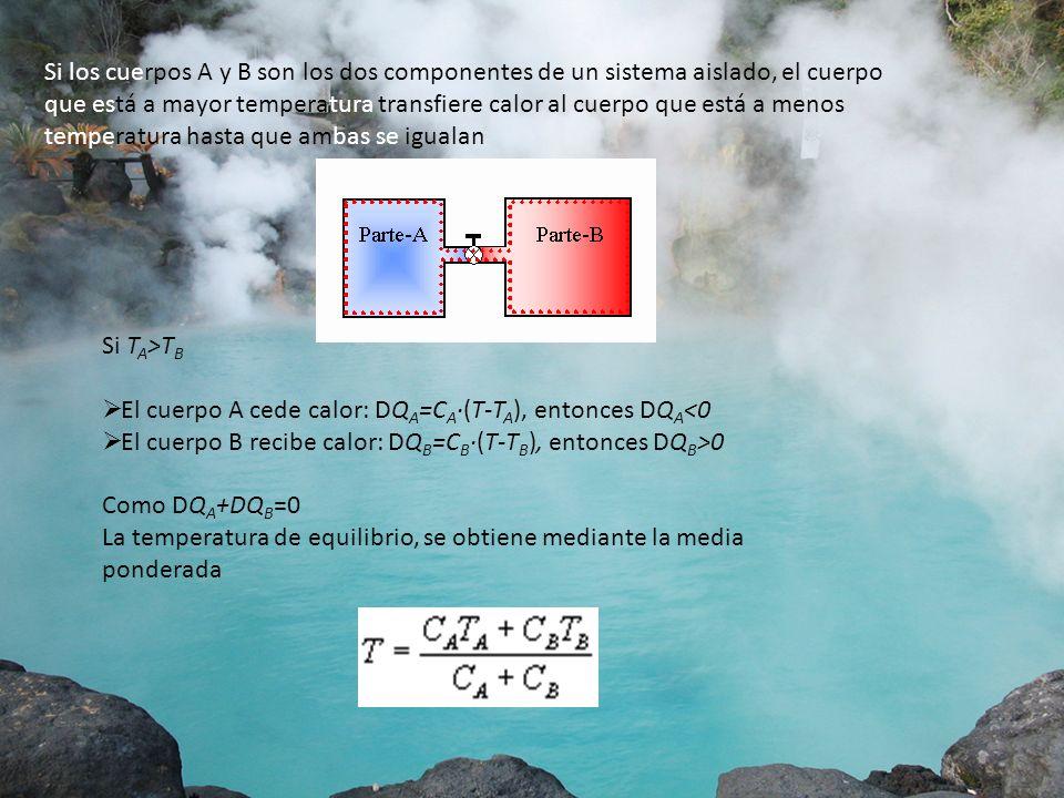 Si los cuerpos A y B son los dos componentes de un sistema aislado, el cuerpo que está a mayor temperatura transfiere calor al cuerpo que está a menos