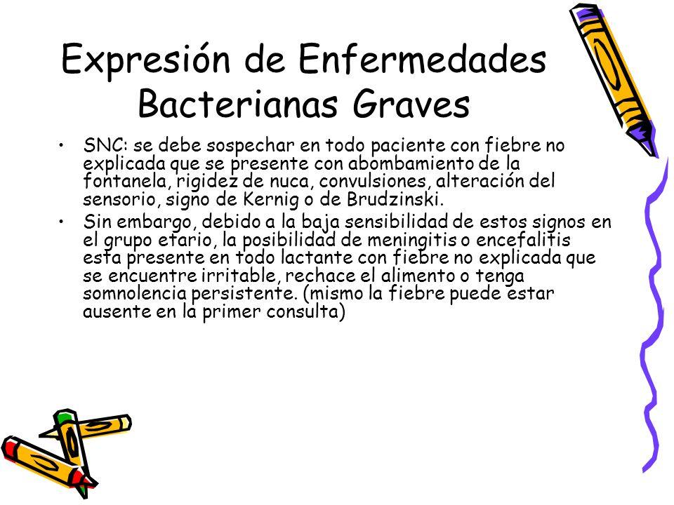 Expresión de Enfermedades Bacterianas Graves SNC: se debe sospechar en todo paciente con fiebre no explicada que se presente con abombamiento de la fo