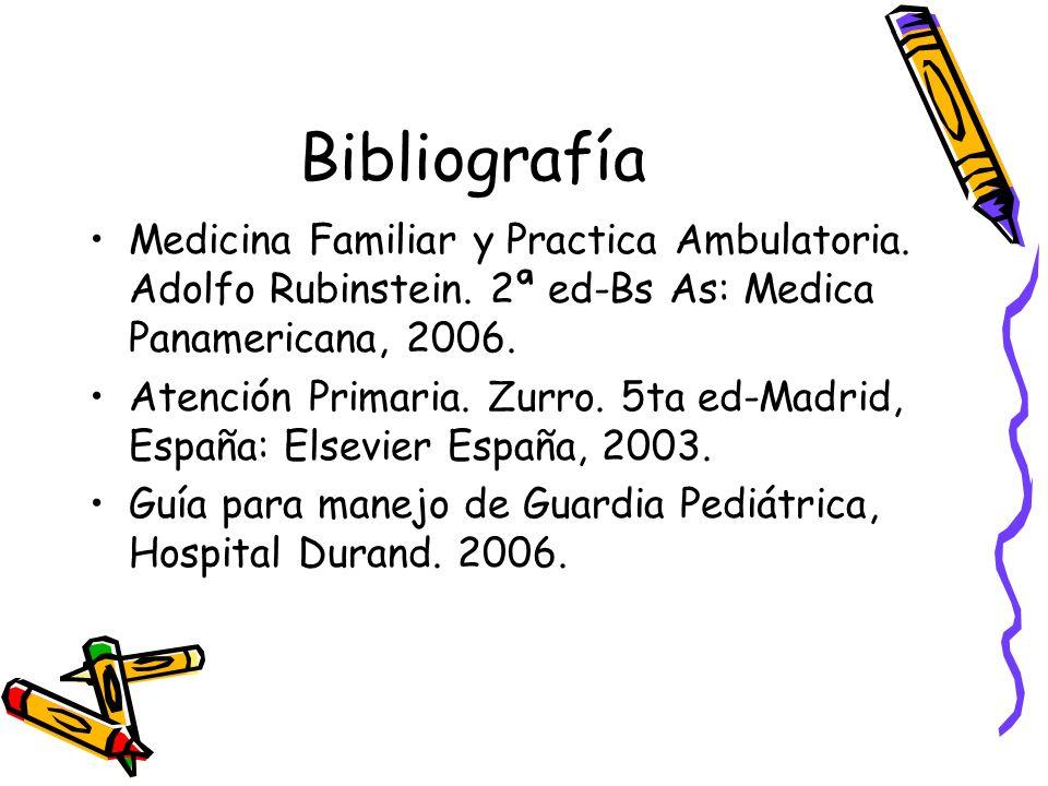 Bibliografía Medicina Familiar y Practica Ambulatoria. Adolfo Rubinstein. 2ª ed-Bs As: Medica Panamericana, 2006. Atención Primaria. Zurro. 5ta ed-Mad