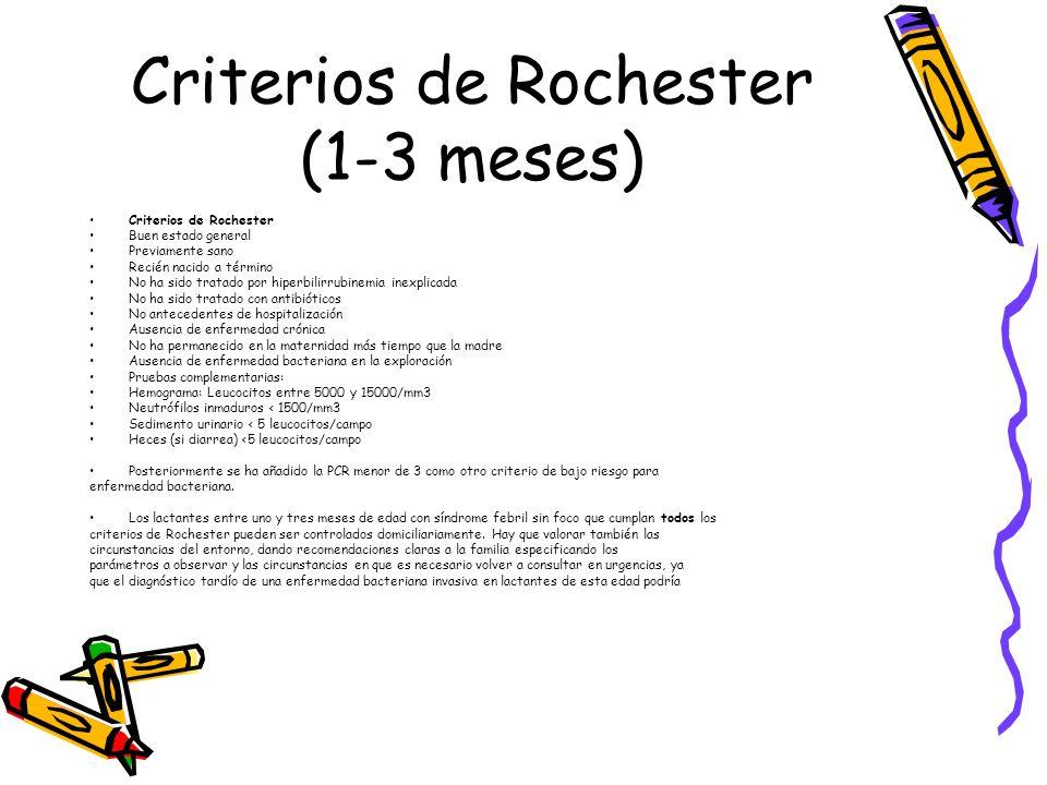 Criterios de Rochester (1-3 meses) Criterios de Rochester Buen estado general Previamente sano Recién nacido a término No ha sido tratado por hiperbil