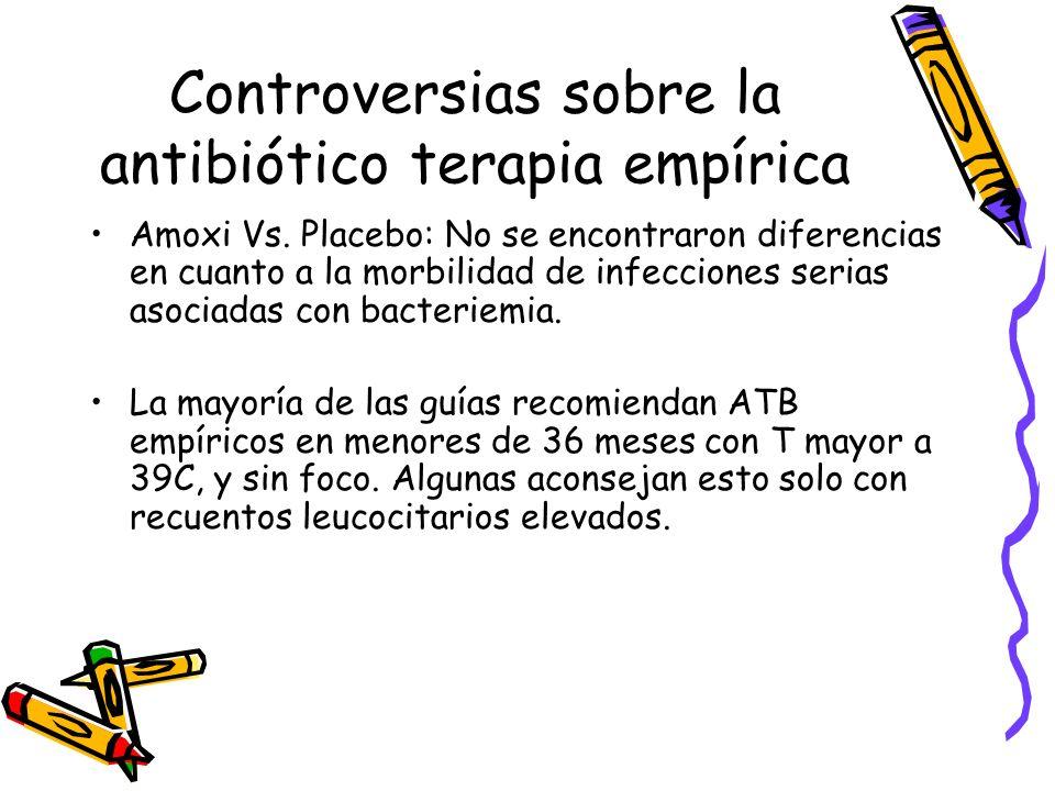 Controversias sobre la antibiótico terapia empírica Amoxi Vs. Placebo: No se encontraron diferencias en cuanto a la morbilidad de infecciones serias a