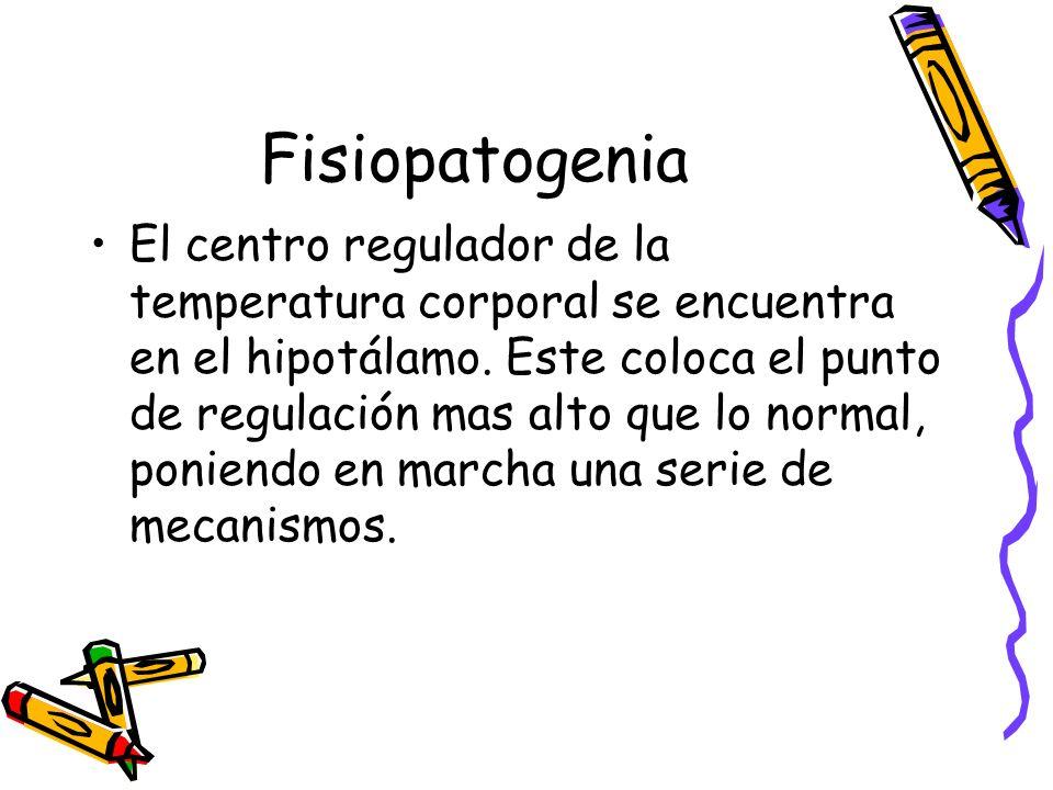 Fisiopatogenia El centro regulador de la temperatura corporal se encuentra en el hipotálamo. Este coloca el punto de regulación mas alto que lo normal