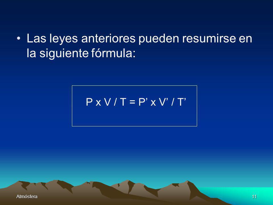 Atmósfera11 Las leyes anteriores pueden resumirse en la siguiente fórmula: P x V / T = P x V / T