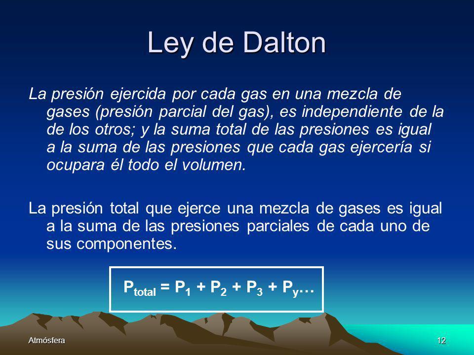 Atmósfera12 Ley de Dalton La presión ejercida por cada gas en una mezcla de gases (presión parcial del gas), es independiente de la de los otros; y la