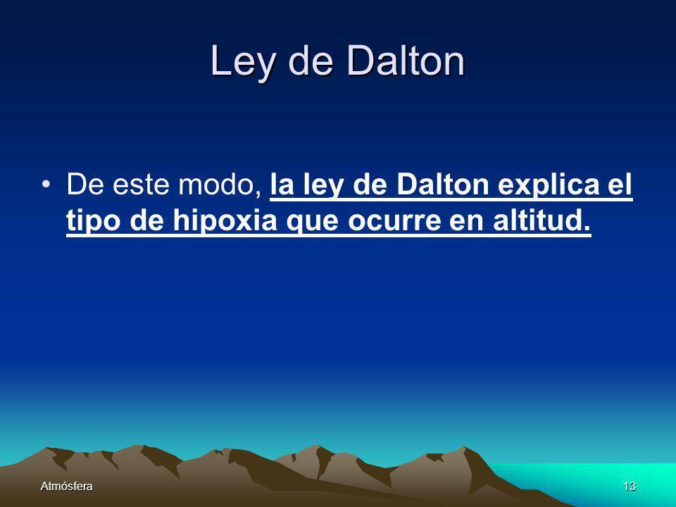 Atmósfera13 Ley de Dalton De este modo, la ley de Dalton explica el tipo de hipoxia que ocurre en altitud.