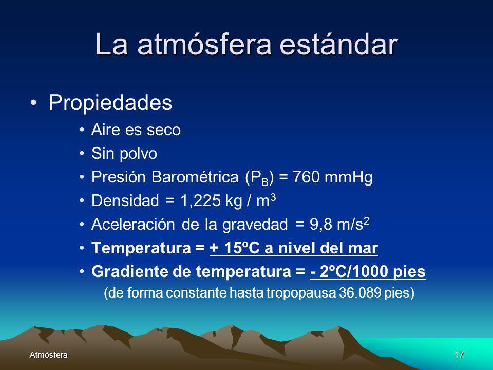 Atmósfera17 La atmósfera estándar Propiedades Aire es seco Sin polvo Presión Barométrica (P B ) = 760 mmHg Densidad = 1,225 kg / m 3 Aceleración de la