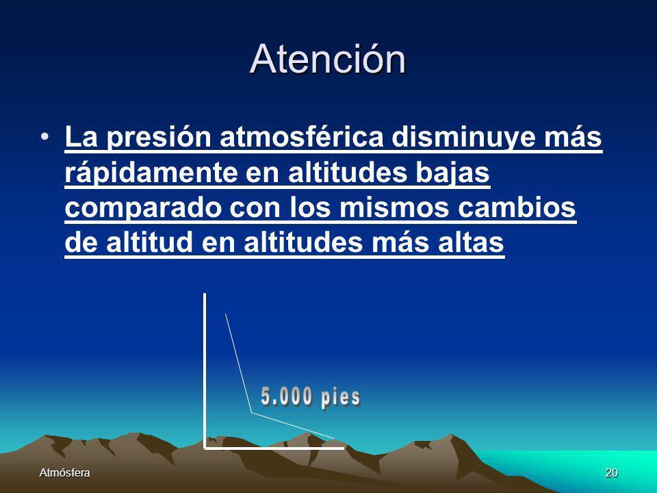 Atmósfera20 Atención La presión atmosférica disminuye más rápidamente en altitudes bajas comparado con los mismos cambios de altitud en altitudes más
