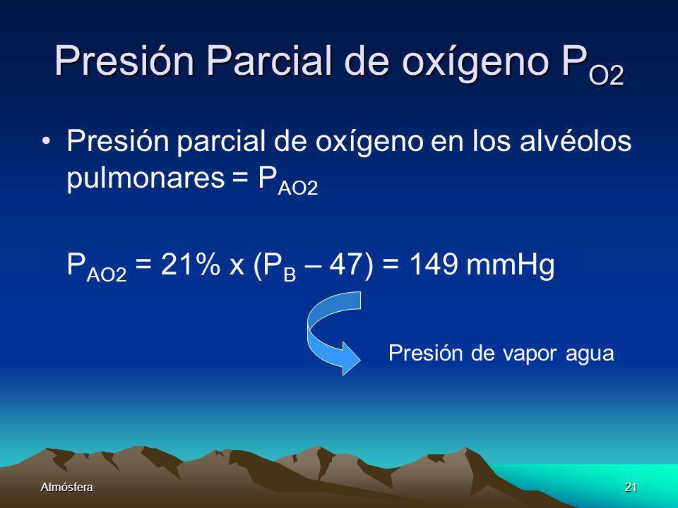 Atmósfera21 Presión Parcial de oxígeno P O2 Presión parcial de oxígeno en los alvéolos pulmonares = P AO2 P AO2 = 21% x (P B – 47) = 149 mmHg Presión