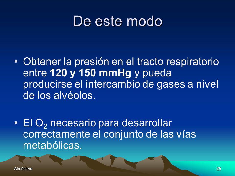 Atmósfera25 De este modo Obtener la presión en el tracto respiratorio entre 120 y 150 mmHg y pueda producirse el intercambio de gases a nivel de los a
