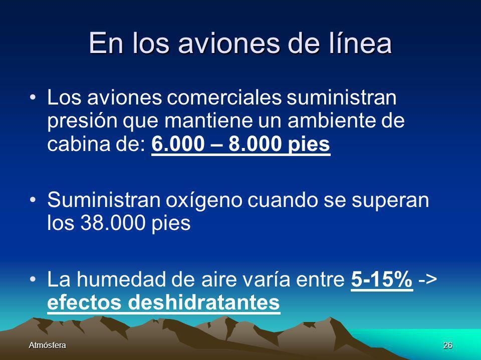 Atmósfera26 En los aviones de línea Los aviones comerciales suministran presión que mantiene un ambiente de cabina de: 6.000 – 8.000 pies Suministran