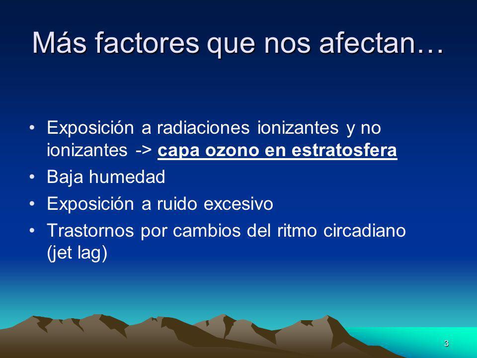 3 Más factores que nos afectan… Exposición a radiaciones ionizantes y no ionizantes -> capa ozono en estratosfera Baja humedad Exposición a ruido exce