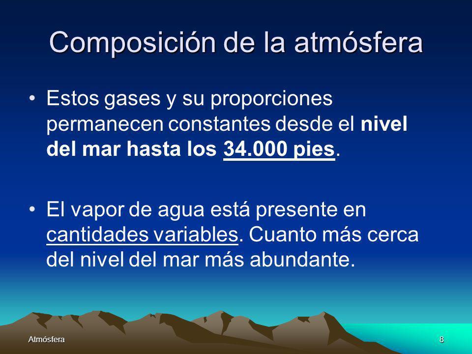 Atmósfera8 Composición de la atmósfera Estos gases y su proporciones permanecen constantes desde el nivel del mar hasta los 34.000 pies. El vapor de a