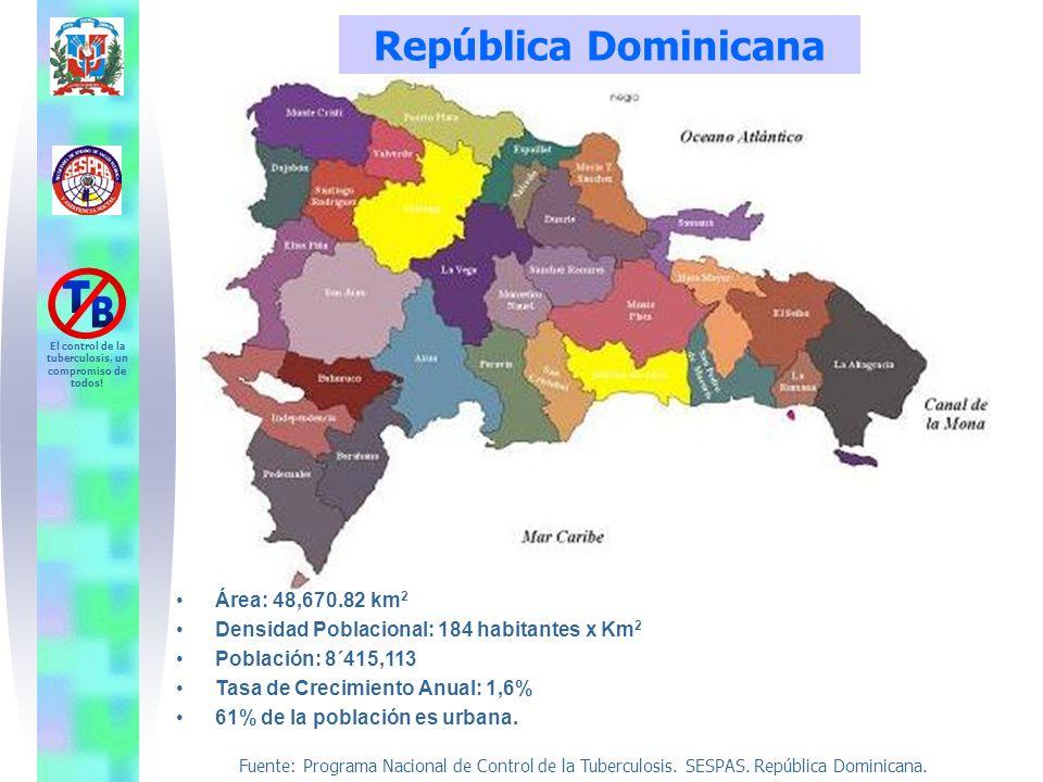 Fuente: Programa Nacional de Control de la Tuberculosis. SESPAS. República Dominicana. El control de la tuberculosis, un compromiso de todos! Área: 48