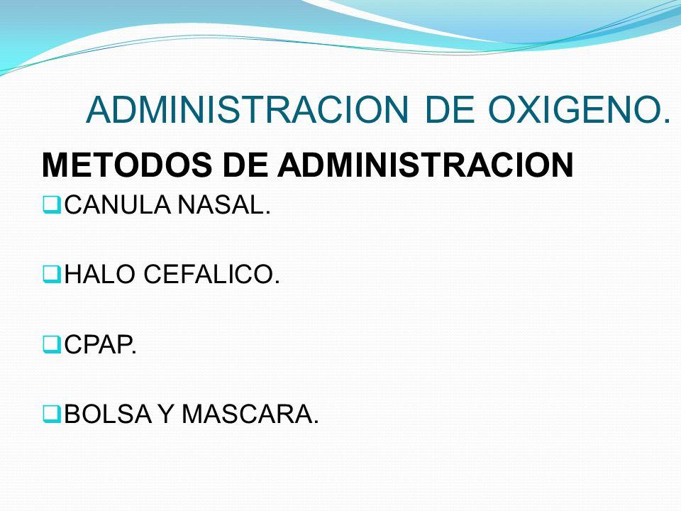 ADMINISTRACION DE OXIGENO. METODOS DE ADMINISTRACION CANULA NASAL. HALO CEFALICO. CPAP. BOLSA Y MASCARA.