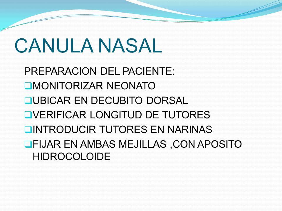 CANULA NASAL PREPARACION DEL PACIENTE: MONITORIZAR NEONATO UBICAR EN DECUBITO DORSAL VERIFICAR LONGITUD DE TUTORES INTRODUCIR TUTORES EN NARINAS FIJAR