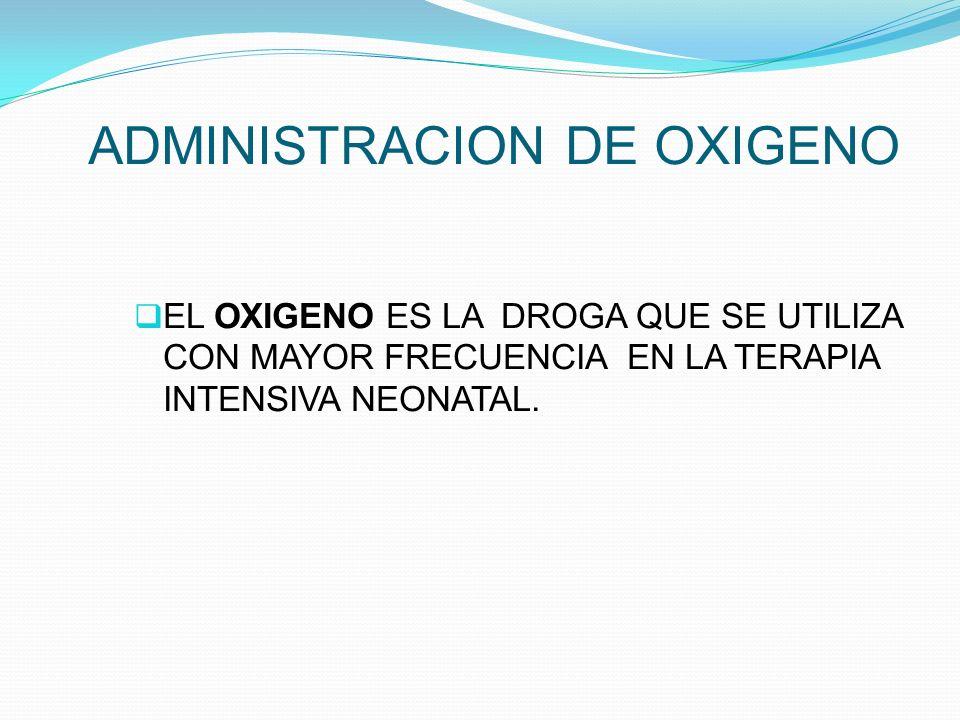 ADMINISTRACION DE OXIGENO EL OXIGENO ES LA DROGA QUE SE UTILIZA CON MAYOR FRECUENCIA EN LA TERAPIA INTENSIVA NEONATAL.