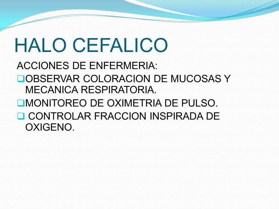 HALO CEFALICO ACCIONES DE ENFERMERIA: OBSERVAR COLORACION DE MUCOSAS Y MECANICA RESPIRATORIA. MONITOREO DE OXIMETRIA DE PULSO. CONTROLAR FRACCION INSP
