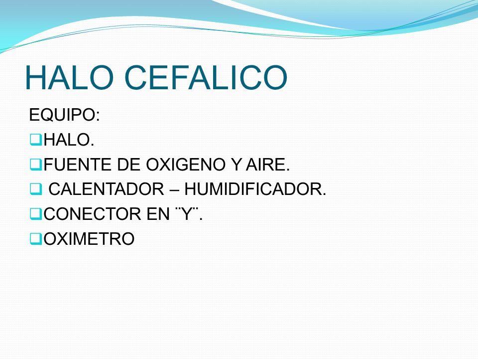 HALO CEFALICO EQUIPO: HALO. FUENTE DE OXIGENO Y AIRE. CALENTADOR – HUMIDIFICADOR. CONECTOR EN ¨Y¨. OXIMETRO
