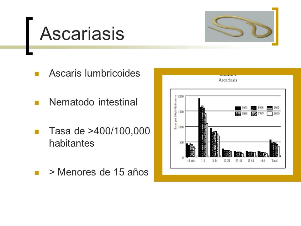 Ascaris lumbricoides Nematodo intestinal Tasa de >400/100,000 habitantes > Menores de 15 años Ascariasis