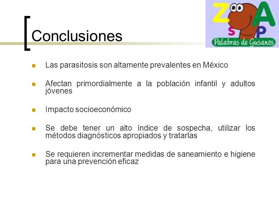 Conclusiones Las parasitosis son altamente prevalentes en México Afectan primordialmente a la población infantil y adultos jóvenes Impacto socioeconóm