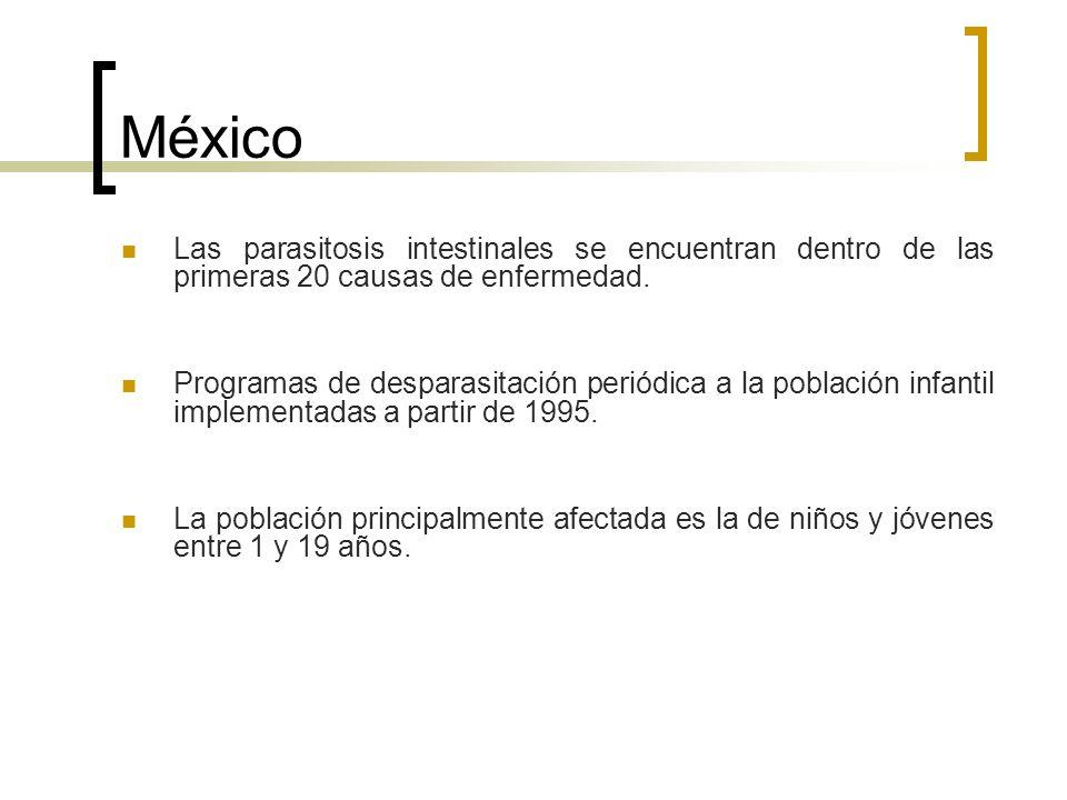 México Las parasitosis intestinales se encuentran dentro de las primeras 20 causas de enfermedad. Programas de desparasitación periódica a la població